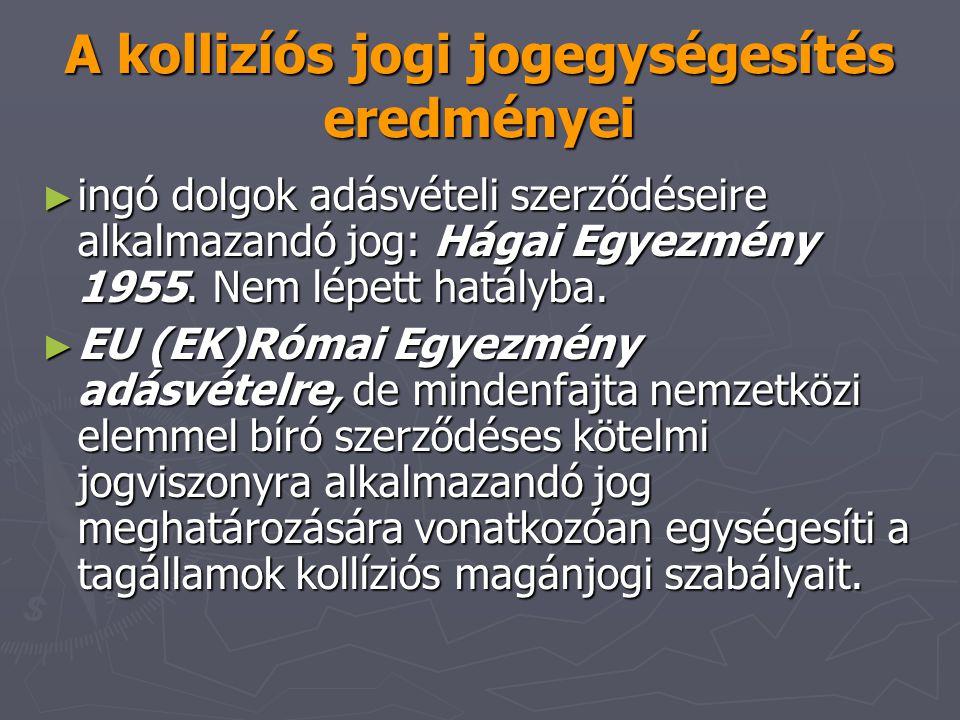 A kollizíós jogi jogegységesítés eredményei ► ingó dolgok adásvételi szerződéseire alkalmazandó jog: Hágai Egyezmény 1955. Nem lépett hatályba. ► EU (