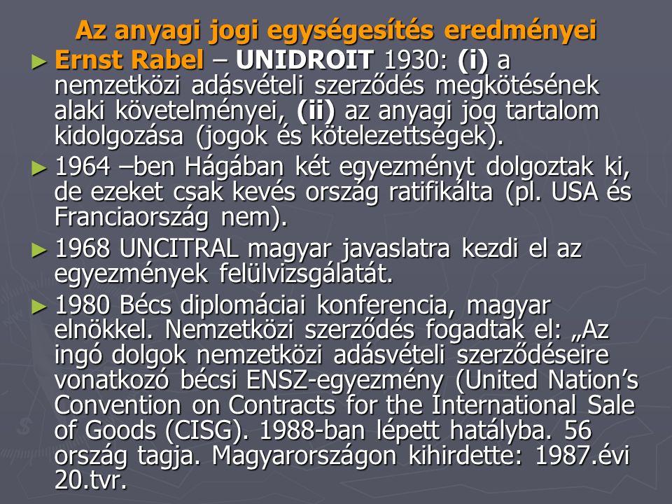Az anyagi jogi egységesítés eredményei ► Ernst Rabel – UNIDROIT 1930: (i) a nemzetközi adásvételi szerződés megkötésének alaki követelményei, (ii) az