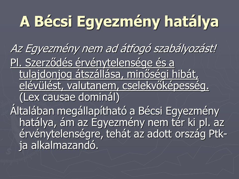 A Bécsi Egyezmény hatálya Az Egyezmény nem ad átfogó szabályozást! Pl. Szerződés érvénytelensége és a tulajdonjog átszállása, minőségi hibát, elévülés
