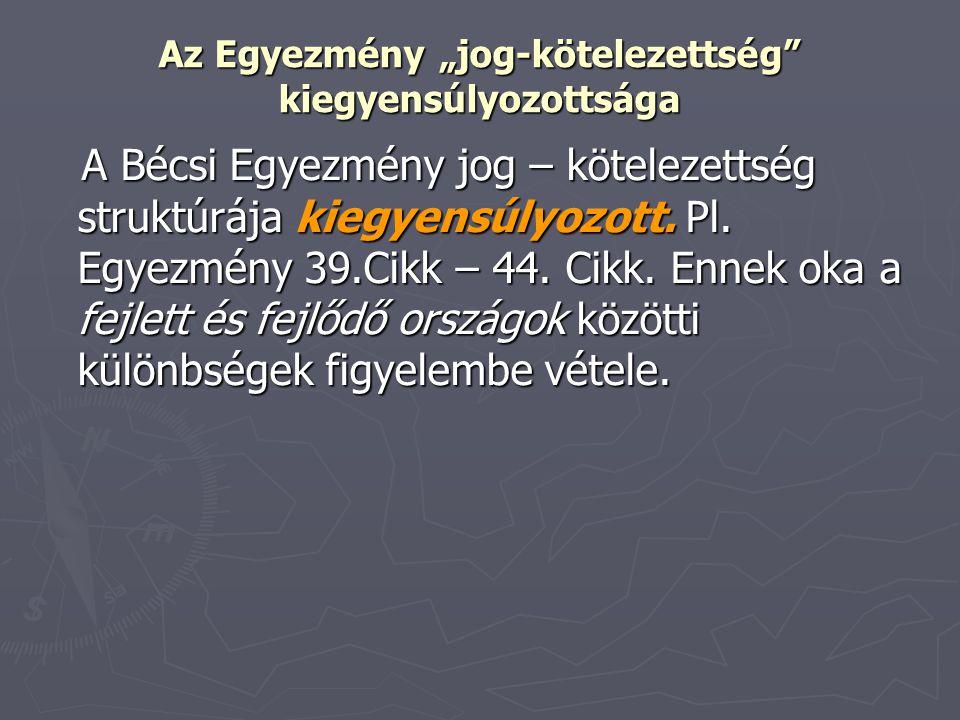 """Az Egyezmény """"jog-kötelezettség"""" kiegyensúlyozottsága A Bécsi Egyezmény jog – kötelezettség struktúrája kiegyensúlyozott. Pl. Egyezmény 39.Cikk – 44."""