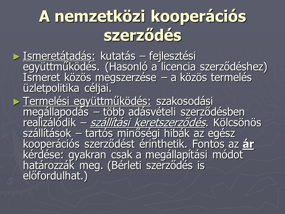 A nemzetközi kooperációs szerződés ► Ismeretátadás: kutatás – fejlesztési együttműködés. (Hasonló a licencia szerződéshez) Ismeret közös megszerzése –