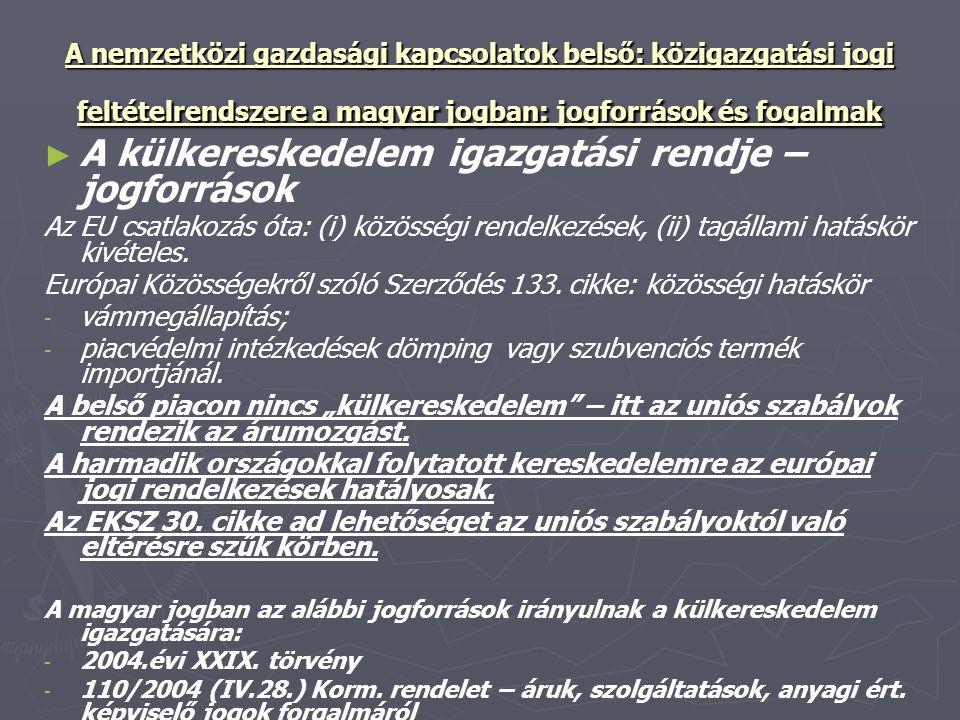 A nemzetközi gazdasági kapcsolatok belső: közigazgatási jogi feltételrendszere a magyar jogban: jogforrások és fogalmak ► ► A külkereskedelem igazgatá