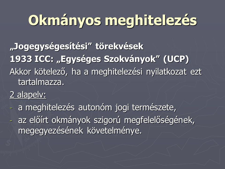 """Okmányos meghitelezés """"Jogegységesítési"""" törekvések 1933 ICC: """"Egységes Szokványok"""" (UCP) Akkor kötelező, ha a meghitelezési nyilatkozat ezt tartalmaz"""