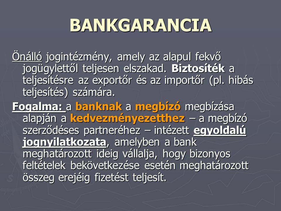 BANKGARANCIA Önálló jogintézmény, amely az alapul fekvő jogügylettől teljesen elszakad. Biztosíték a teljesítésre az exportőr és az importőr (pl. hibá