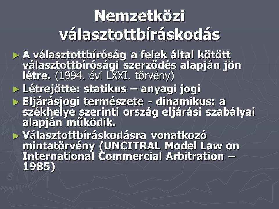 Nemzetközi választottbíráskodás ► A választottbíróság a felek által kötött választottbírósági szerződés alapján jön létre. (1994. évi LXXI. törvény) ►