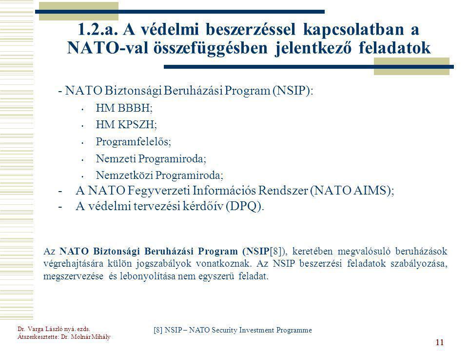 Dr.Varga László nyá. ezds. Átszerkesztette: Dr. Molnár Mihály 11 1.2.a.