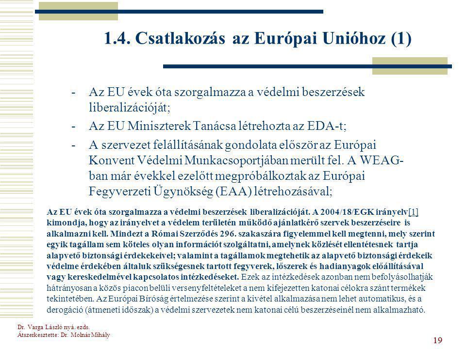 Dr.Varga László nyá. ezds. Átszerkesztette: Dr. Molnár Mihály 19 1.4.