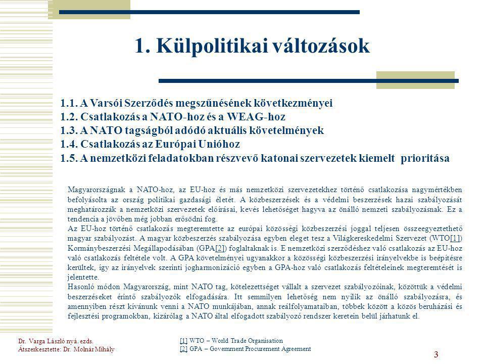 Dr.Varga László nyá. ezds. Átszerkesztette: Dr. Molnár Mihály 24 1.4.