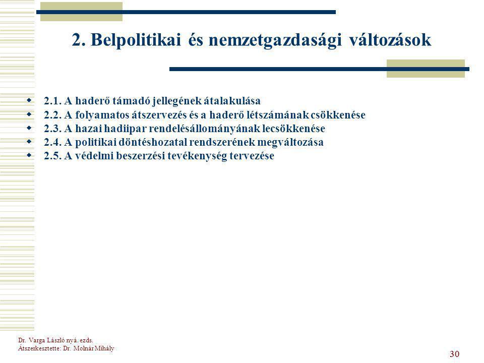Dr.Varga László nyá. ezds. Átszerkesztette: Dr. Molnár Mihály 30 2.
