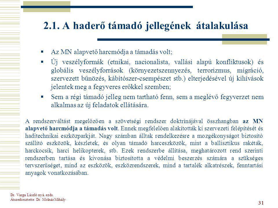 Dr.Varga László nyá. ezds. Átszerkesztette: Dr. Molnár Mihály 31 2.1.