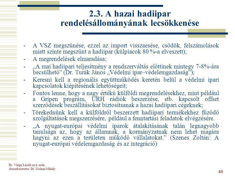 Dr.Varga László nyá. ezds. Átszerkesztette: Dr. Molnár Mihály 40 2.3.