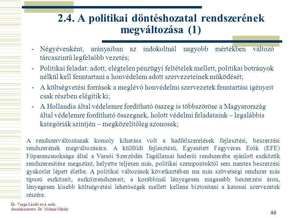 Dr.Varga László nyá. ezds. Átszerkesztette: Dr. Molnár Mihály 46 2.4.