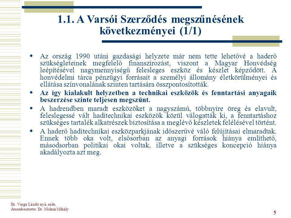 Dr.Varga László nyá. ezds. Átszerkesztette: Dr. Molnár Mihály 16  A Panel III.