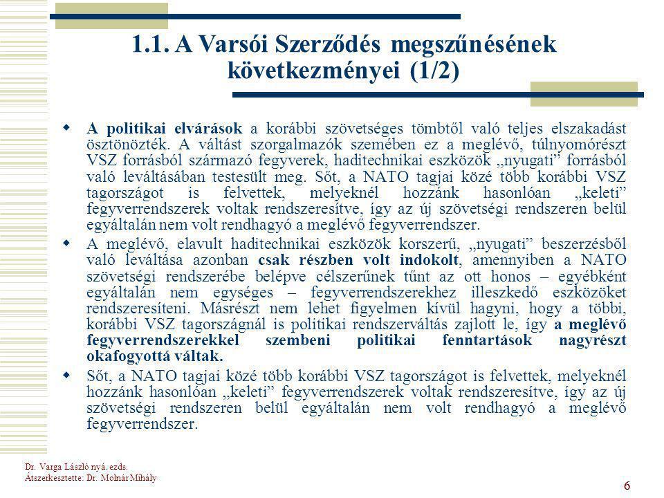 Dr.Varga László nyá. ezds. Átszerkesztette: Dr. Molnár Mihály 17 1.3.
