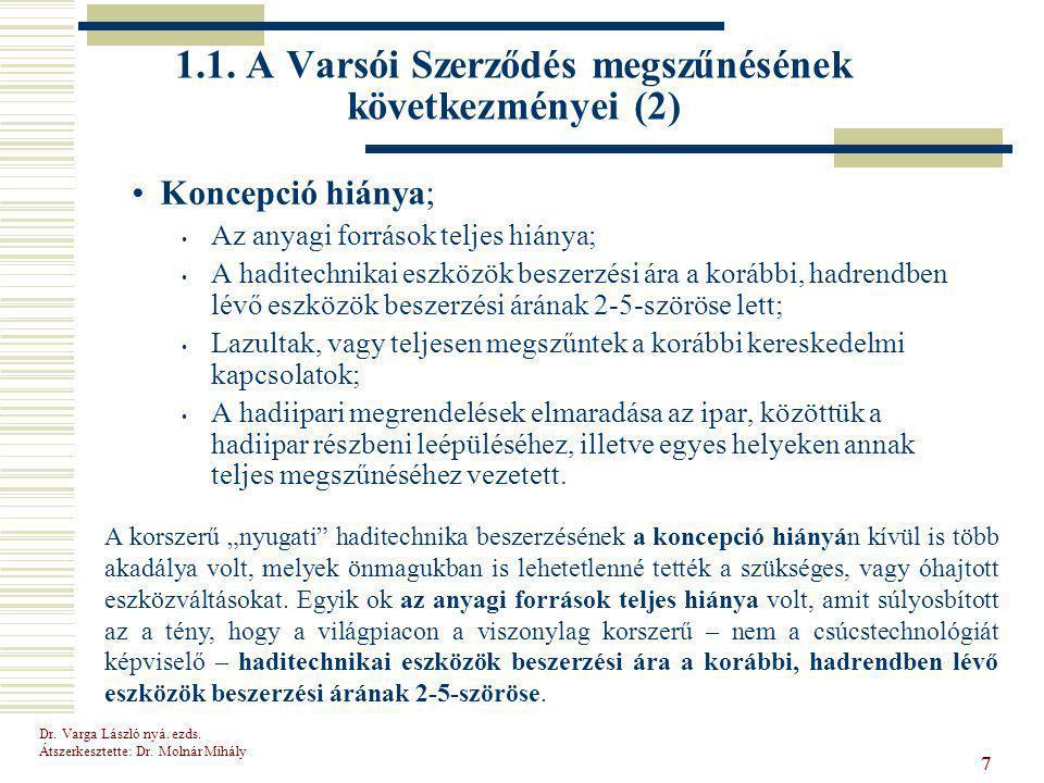 Dr.Varga László nyá. ezds. Átszerkesztette: Dr. Molnár Mihály 77 1.1.