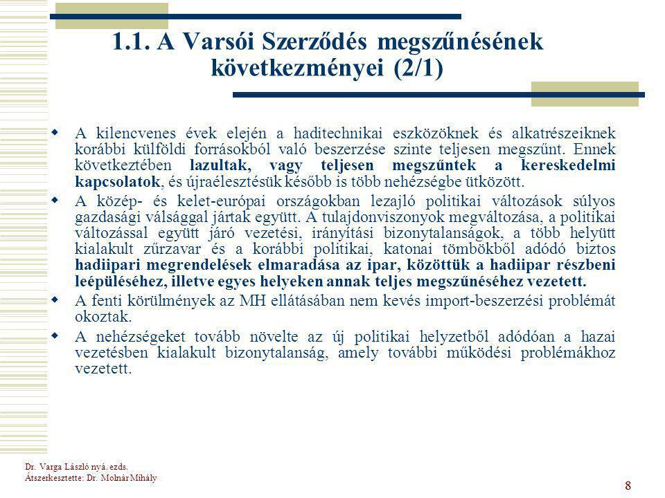 Dr.Varga László nyá. ezds. Átszerkesztette: Dr. Molnár Mihály 99 1.2.