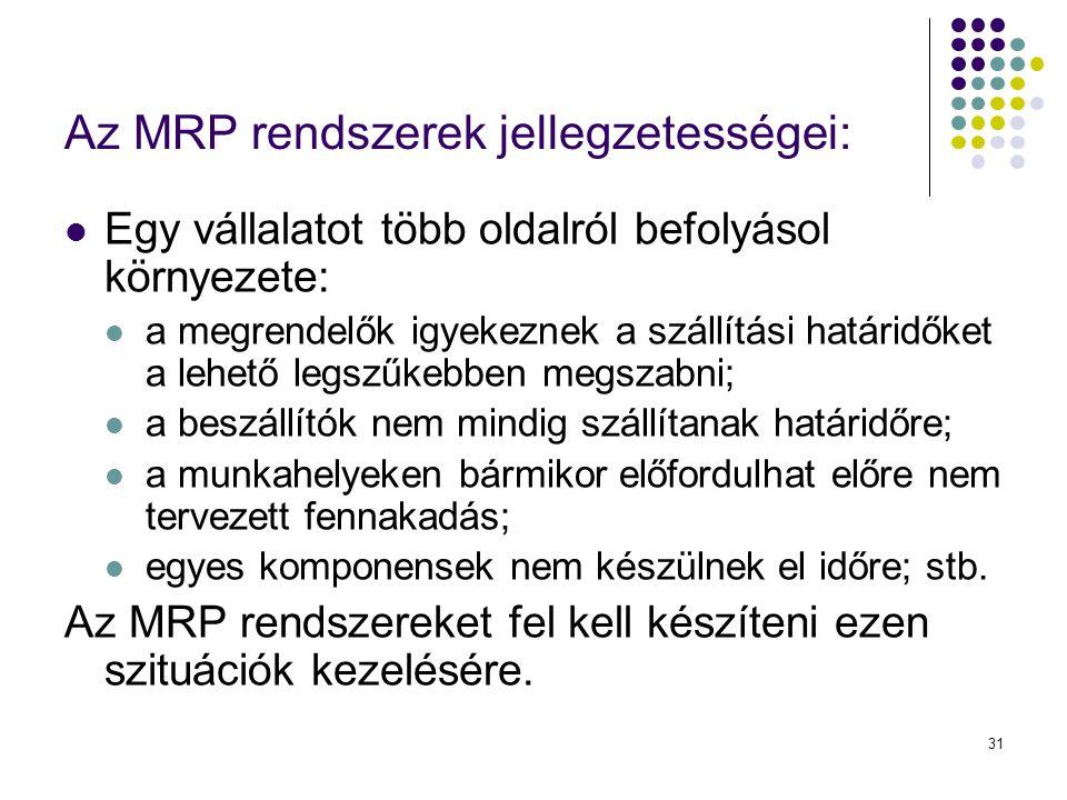 31 Az MRP rendszerek jellegzetességei:  Egy vállalatot több oldalról befolyásol környezete:  a megrendelők igyekeznek a szállítási határidőket a leh