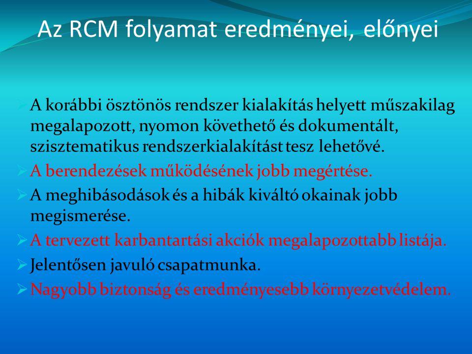 Az RCM folyamat eredményei, előnyei  A korábbi ösztönös rendszer kialakítás helyett műszakilag megalapozott, nyomon követhető és dokumentált, sziszte