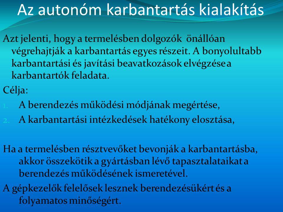 Az autonóm karbantartás kialakítás Azt jelenti, hogy a termelésben dolgozók önállóan végrehajtják a karbantartás egyes részeit. A bonyolultabb karbant
