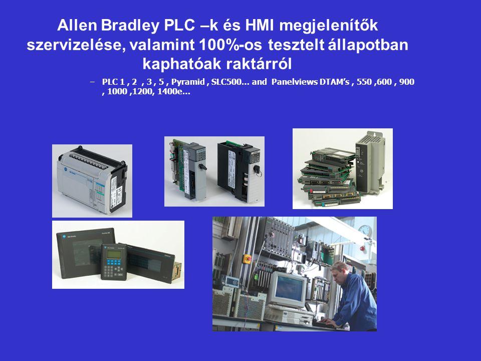 Allen Bradley PLC –k és HMI megjelenítők szervizelése, valamint 100%-os tesztelt állapotban kaphatóak raktárról –PLC 1, 2, 3, 5, Pyramid, SLC500… and Panelviews DTAM's, 550,600, 900, 1000,1200, 1400e…