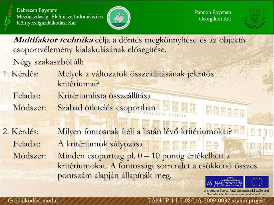 11 célja a döntés megkönnyítése és az objektív csoportvélemény kialakulásának elősegítése.