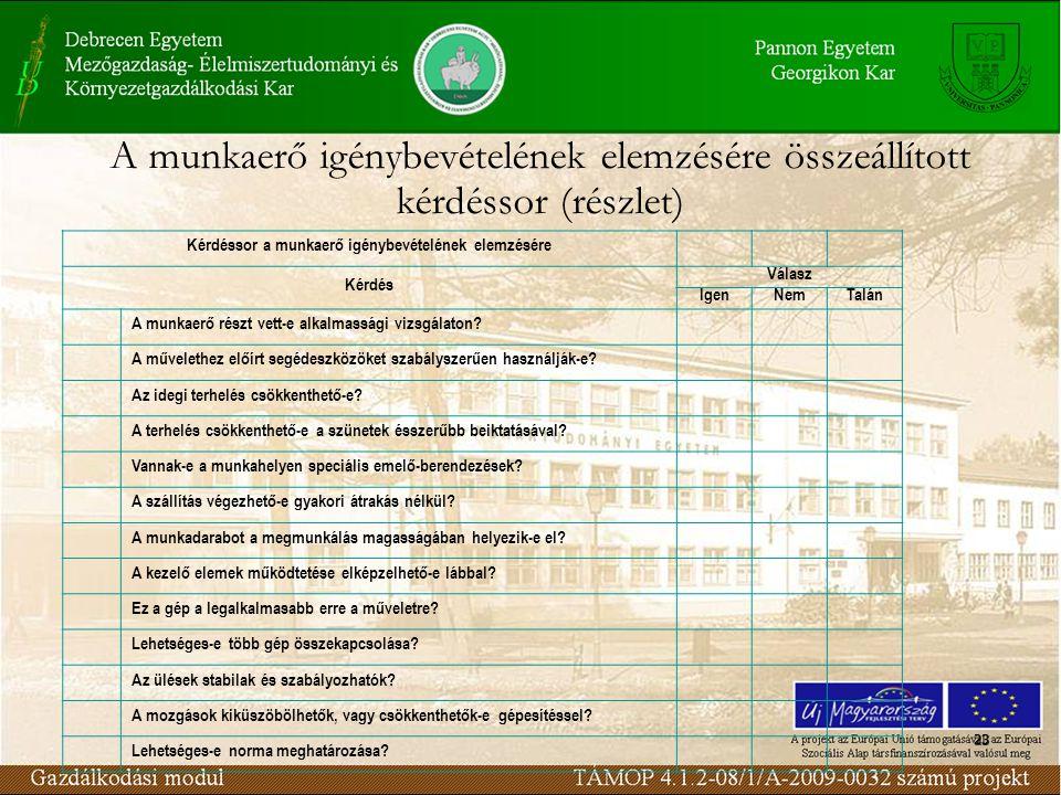 23 Kérdéssor a munkaerő igénybevételének elemzésére Kérdés Válasz IgenNemTalán A munkaerő részt vett-e alkalmassági vizsgálaton.