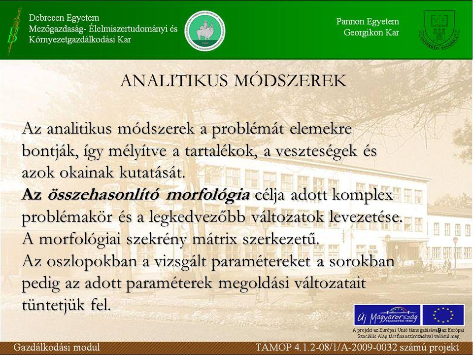 9 ANALITIKUS MÓDSZEREK Az analitikus módszerek a problémát elemekre bontják, így mélyítve a tartalékok, a veszteségek és azok okainak kutatását.