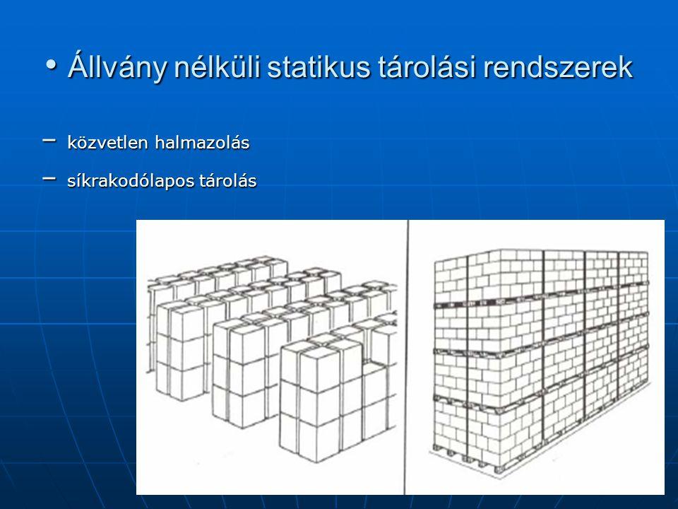 • Állvány nélküli statikus tárolási rendszerek – közvetlen halmazolás – síkrakodólapos tárolás