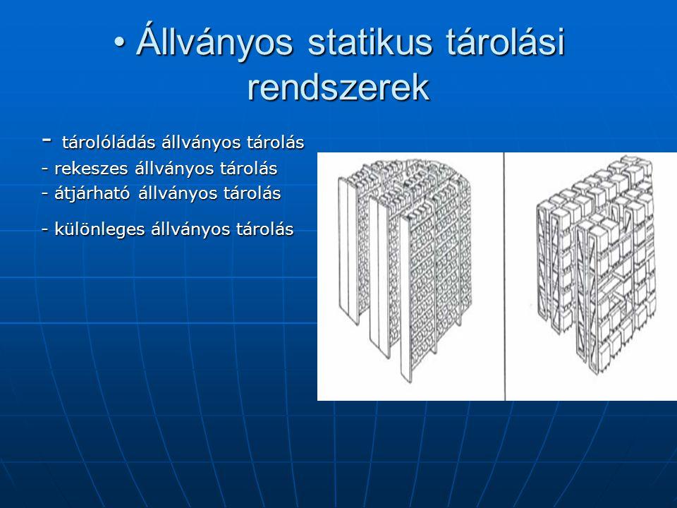 • Állványos statikus tárolási rendszerek - tárolóládás állványos tárolás - rekeszes állványos tárolás - átjárható állványos tárolás - különleges állvá