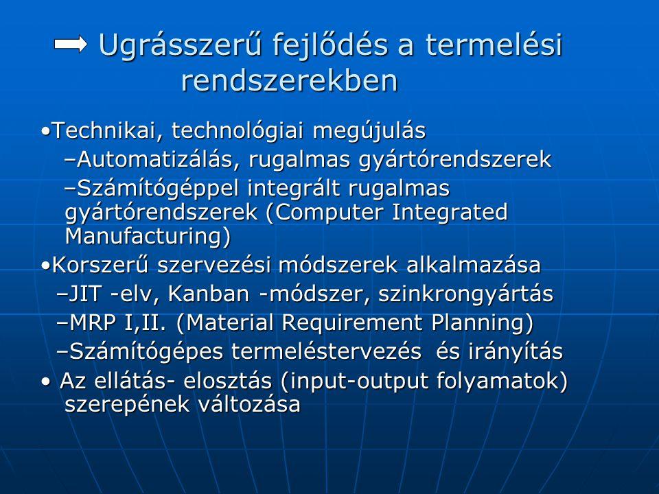 Ugrásszerű fejlődés a termelési rendszerekben •Technikai, technológiai megújulás –Automatizálás, rugalmas gyártórendszerek –Automatizálás, rugalmas gy