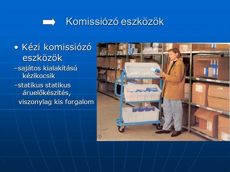 Komissiózó eszközök • Kézi komissiózó eszközök –sajátos kialakítású kézikocsik –statikus statikus áruelőkészítés, viszonylag kis forgalom viszonylag k
