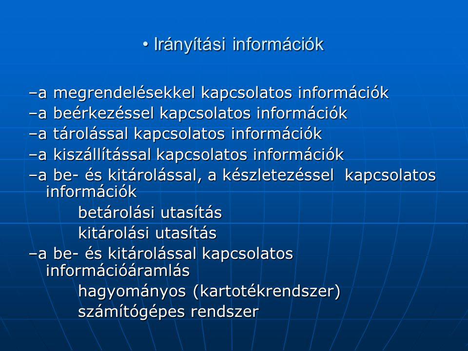 • Irányítási információk –a megrendelésekkel kapcsolatos információk –a beérkezéssel kapcsolatos információk –a tárolással kapcsolatos információk –a