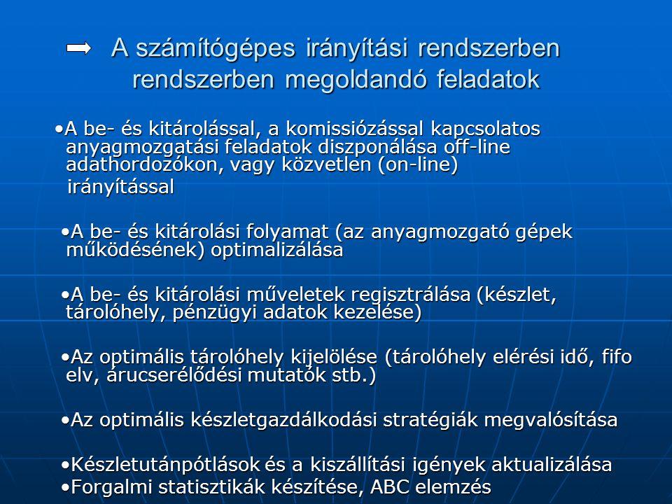 A számítógépes irányítási rendszerben rendszerben megoldandó feladatok •A be- és kitárolással, a komissiózással kapcsolatos anyagmozgatási feladatok d