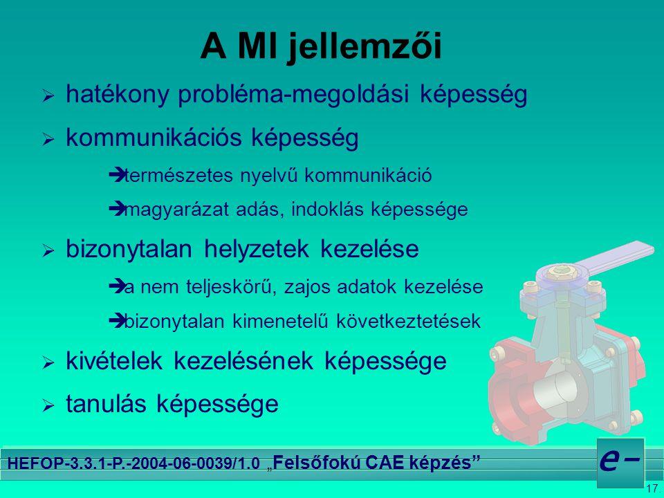"""17. e- HEFOP-3.3.1-P.-2004-06-0039/1.0 """" Felsőfokú CAE képzés"""" A MI jellemzői  hatékony probléma-megoldási képesség  kommunikációs képesség ètermész"""