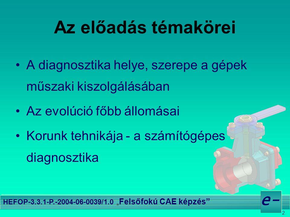 """2. e- HEFOP-3.3.1-P.-2004-06-0039/1.0 """" Felsőfokú CAE képzés"""" Az előadás témakörei •A diagnosztika helye, szerepe a gépek műszaki kiszolgálásában •Az"""