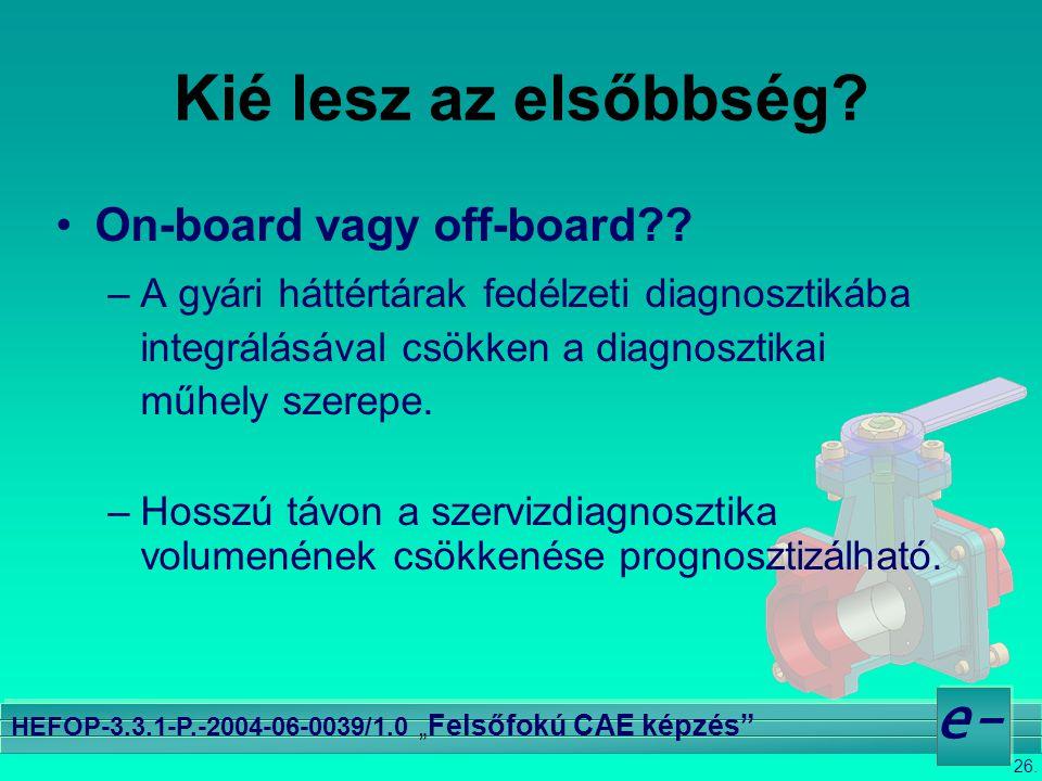 """26. e- HEFOP-3.3.1-P.-2004-06-0039/1.0 """" Felsőfokú CAE képzés"""" Kié lesz az elsőbbség? •On-board vagy off-board?? –A gyári háttértárak fedélzeti diagno"""