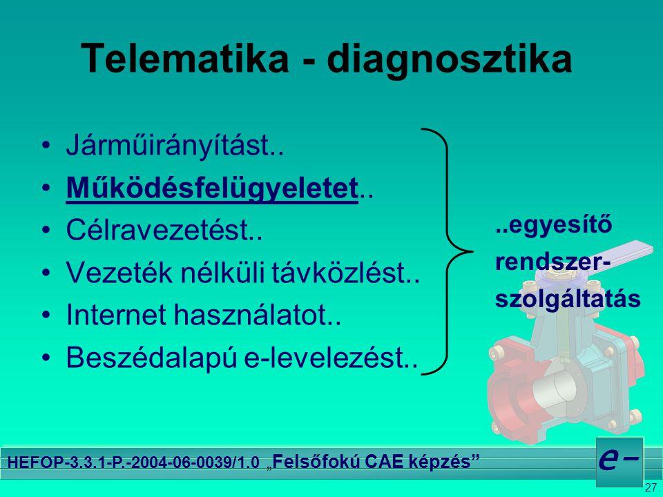 """27. e- HEFOP-3.3.1-P.-2004-06-0039/1.0 """" Felsőfokú CAE képzés"""" Telematika - diagnosztika •Járműirányítást.. •Működésfelügyeletet.. •Célravezetést.. •V"""
