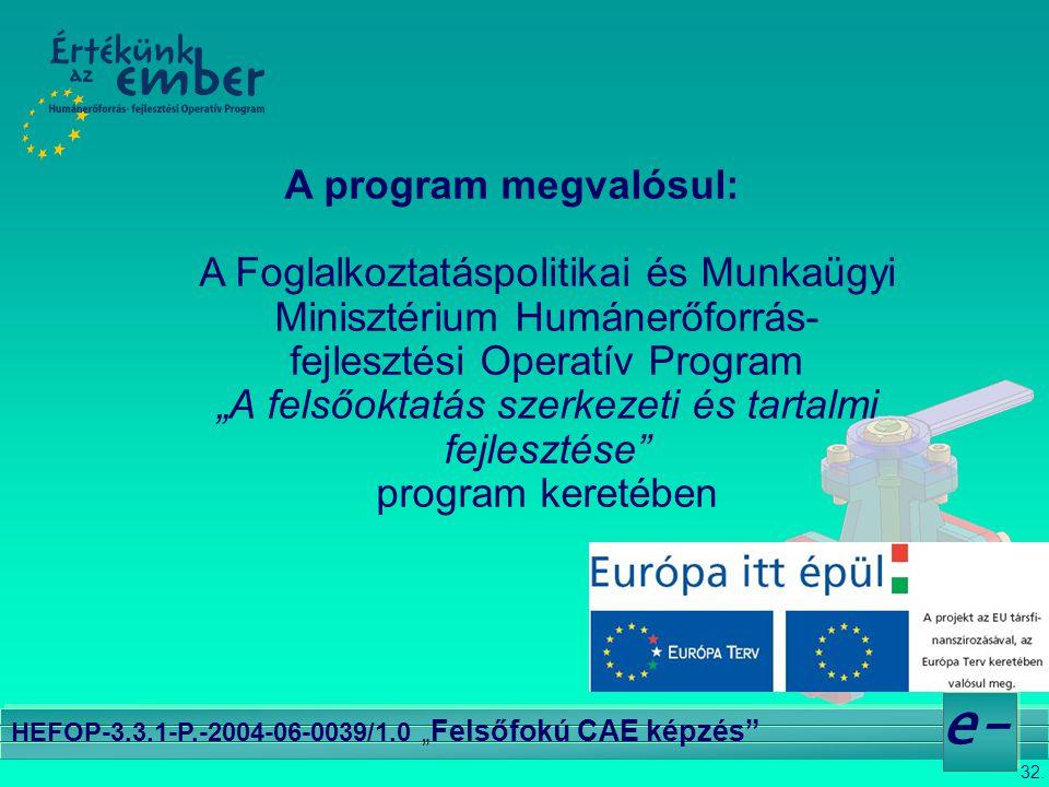 """32. e- HEFOP-3.3.1-P.-2004-06-0039/1.0 """" Felsőfokú CAE képzés"""" A program megvalósul: A Foglalkoztatáspolitikai és Munkaügyi Minisztérium Humánerőforrá"""