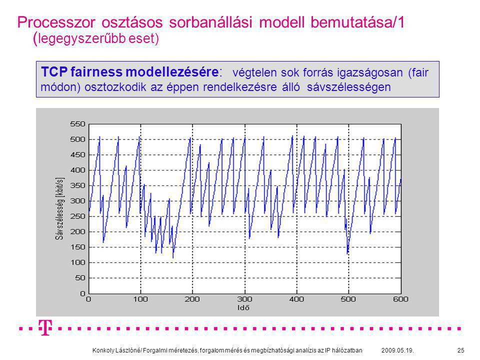 Konkoly Lászlóné/ Forgalmi méretezés, forgalom mérés és megbízhatósági analízis az IP hálózatban 2009.05.19.25 Processzor osztásos sorbanállási modell