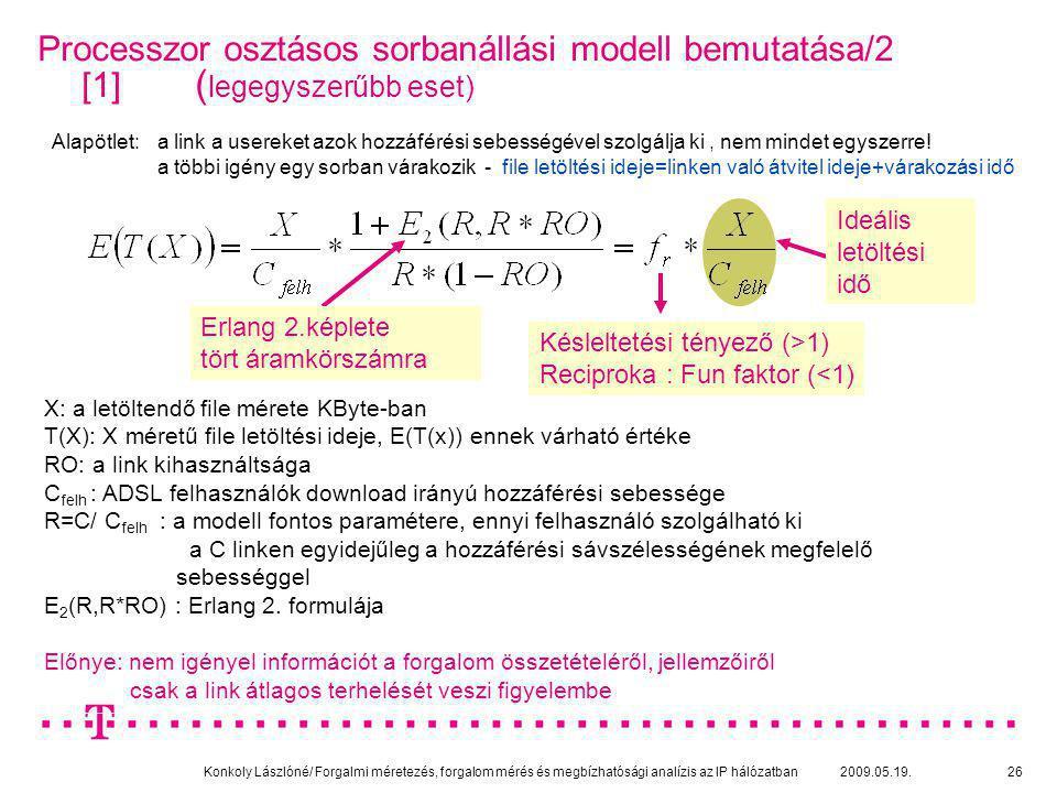 Konkoly Lászlóné/ Forgalmi méretezés, forgalom mérés és megbízhatósági analízis az IP hálózatban 2009.05.19.26 Processzor osztásos sorbanállási modell
