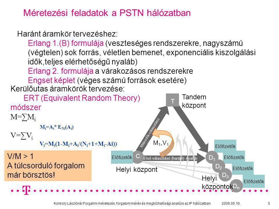 Konkoly Lászlóné/ Forgalmi méretezés, forgalom mérés és megbízhatósági analízis az IP hálózatban 2009.05.19.26 Processzor osztásos sorbanállási modell bemutatása/2 [1] ( legegyszerűbb eset) X: a letöltendő file mérete KByte-ban T(X): X méretű file letöltési ideje, E(T(x)) ennek várható értéke RO: a link kihasználtsága C felh : ADSL felhasználók download irányú hozzáférési sebessége R=C/ C felh : a modell fontos paramétere, ennyi felhasználó szolgálható ki a C linken egyidejűleg a hozzáférési sávszélességének megfelelő sebességgel E 2 (R,R*RO) : Erlang 2.
