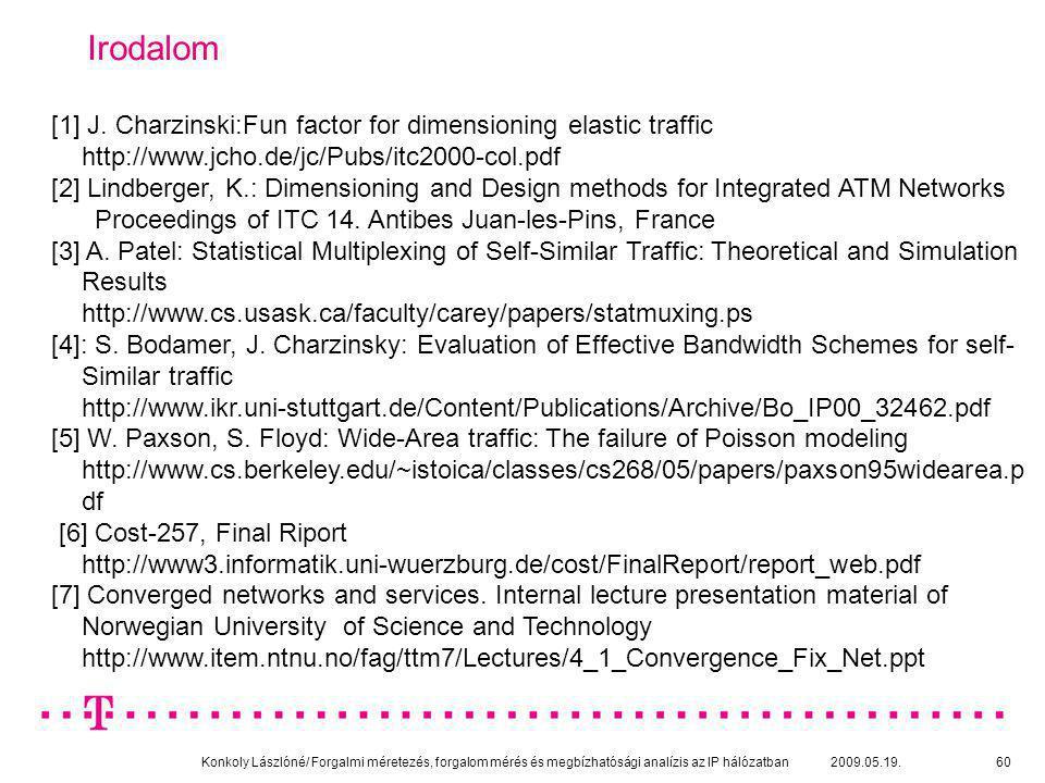 Konkoly Lászlóné/ Forgalmi méretezés, forgalom mérés és megbízhatósági analízis az IP hálózatban 2009.05.19.60 Irodalom [1] J. Charzinski:Fun factor f