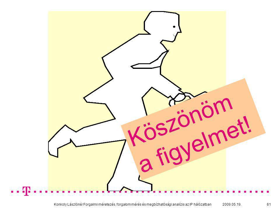 Konkoly Lászlóné/ Forgalmi méretezés, forgalom mérés és megbízhatósági analízis az IP hálózatban 2009.05.19.61 Köszönöm a figyelmet!