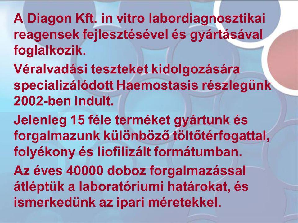 A Diagon Kft. in vitro labordiagnosztikai reagensek fejlesztésével és gyártásával foglalkozik. Véralvadási teszteket kidolgozására specializálódott Ha