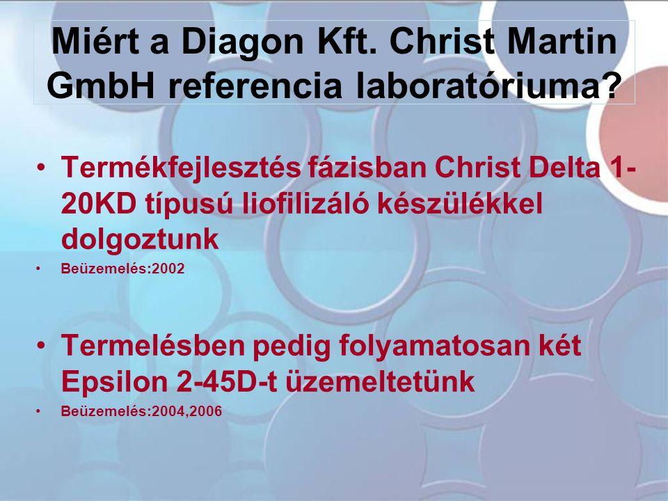 Miért a Diagon Kft. Christ Martin GmbH referencia laboratóriuma? •Termékfejlesztés fázisban Christ Delta 1- 20KD típusú liofilizáló készülékkel dolgoz