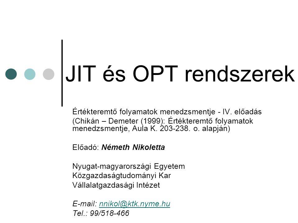 Tartalom JIT rendszer  Alapelvei  Elemei  Alkalmazása a termelésszervezésben OPT rendszer  Célja  Alapelvei  Alkalmazása Integrált rendszerek összehasonítása