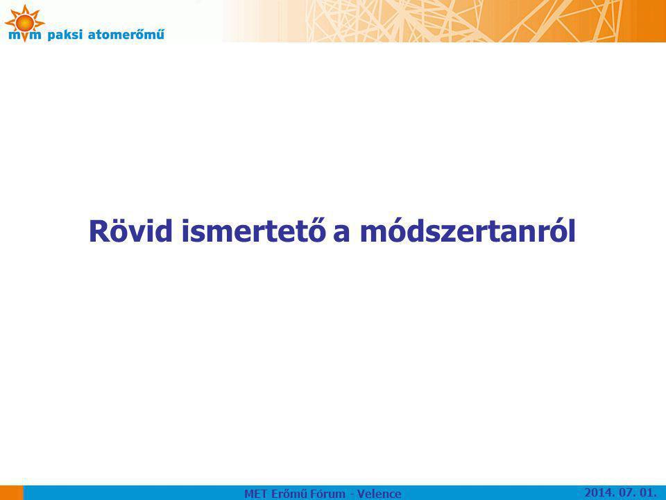 Rövid ismertető a módszertanról MET Erőmű Fórum - Velence 2014. 07. 01.