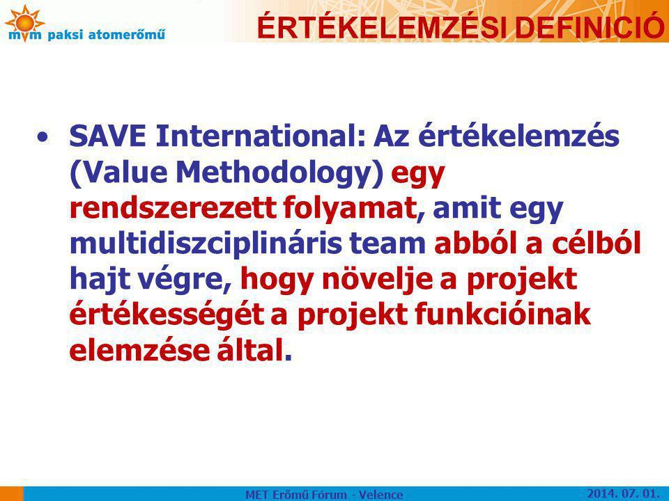 ÉRTÉKELEMZÉSI DEFINICIÓ •SAVE International: Az értékelemzés (Value Methodology) egy rendszerezett folyamat, amit egy multidiszciplináris team abból a
