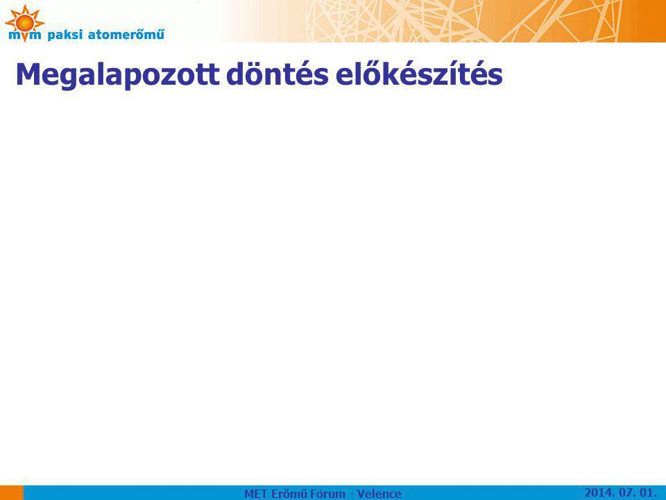 Megalapozott döntés előkészítés MET Erőmű Fórum - Velence 2014. 07. 01.