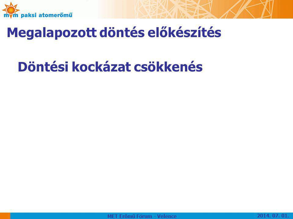 Megalapozott döntés előkészítés Döntési kockázat csökkenés MET Erőmű Fórum - Velence 2014. 07. 01.